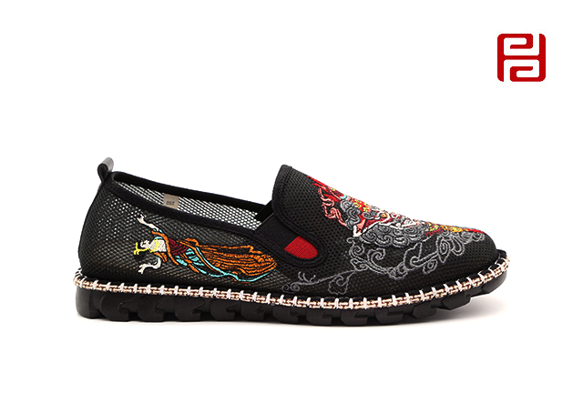 福连升夏款男士刺绣社会鞋网面凉鞋色鬼老北京布鞋
