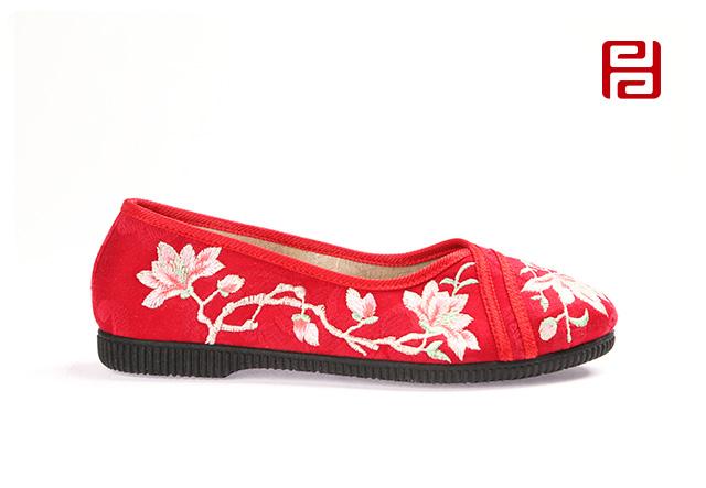 福连升女士花朵刺绣复古中国风浅口单鞋老北京布鞋