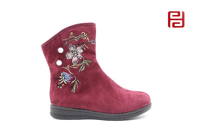 福连升老北京布鞋冬加绒中国风刺绣女款短靴