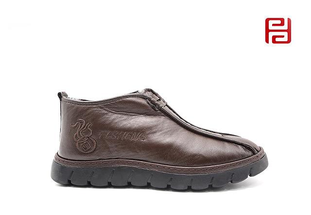 福连升休闲鞋冬季保暖加绒男鞋中帮国风一脚蹬舒适鞋子