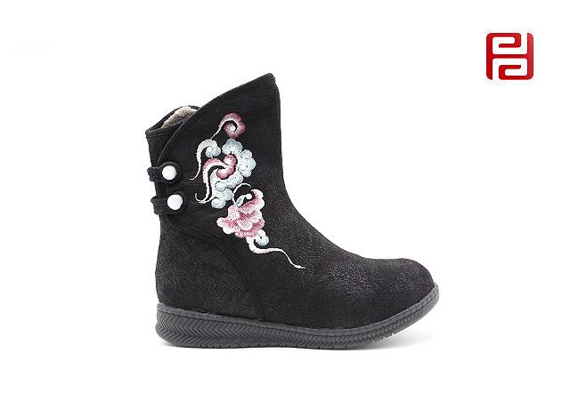福连升老北京布鞋女鞋冬加绒保暖传统中国风刺绣靴子