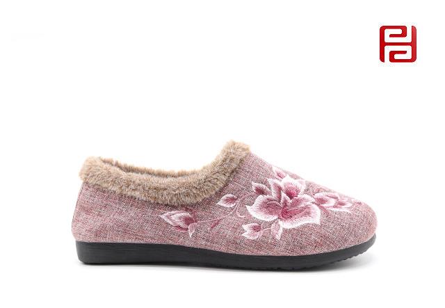 福连升老北京布鞋女鞋冬季加绒保暖一脚蹬居家套脚鞋子