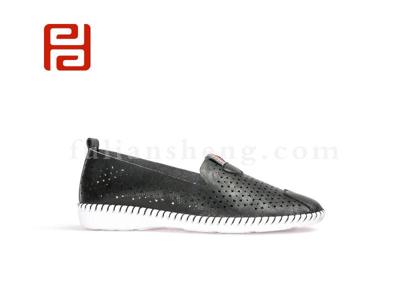 福连升女夏新款休闲手缝超纤透气中年鞋图片